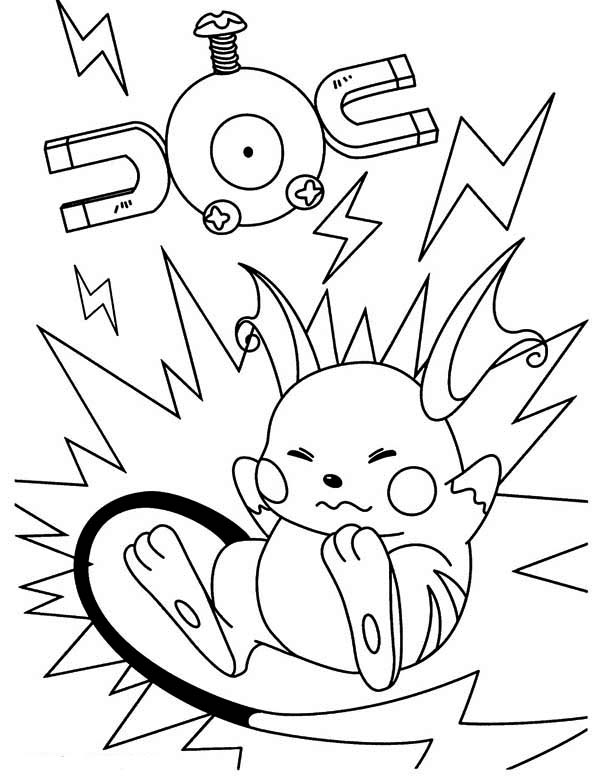 Raichu, : Raichu Fall on Magnetic Area Coloring Page