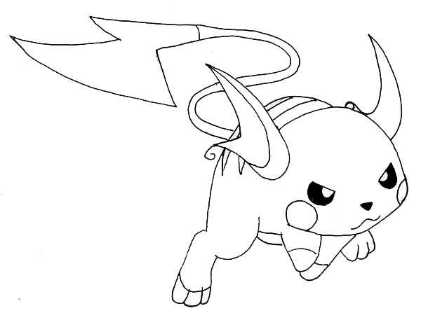 Raichu, : Raichu Fighting Pose Coloring Page