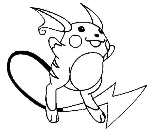 Raichu, : Raichu Jumping Coloring Page