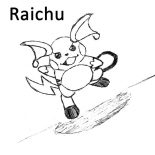 Raichu, Raichu Running Forward Coloring Page: Raichu Running Forward Coloring Page