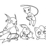 Raichu, Raichu And Friends Coloring Page: Raichu and Friends Coloring Page