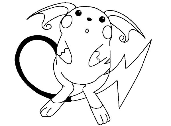 Raichu, : Raichu is Astonished Coloring Page