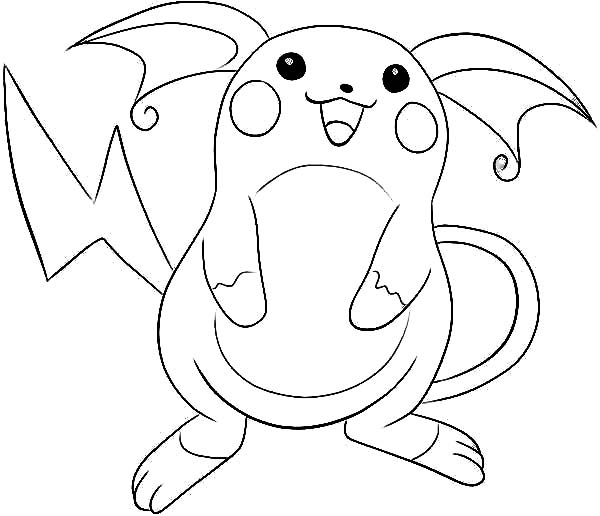 Raichu, : Raichu is Laughing Coloring Page