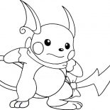 Raichu, Raichu Is Ready To Fight Coloring Page: Raichu is Ready to Fight Coloring Page
