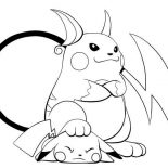 Raichu, Raichu Is Lose To Pikachu Coloring Page: Raichu is lose to Pikachu Coloring Page