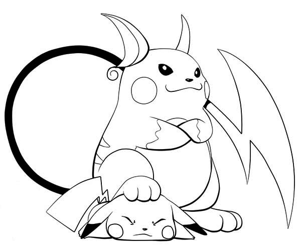 Raichu, : Raichu is lose to Pikachu Coloring Page