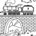 Railroad, Railroad On The Bridge Coloring Page: Railroad on the Bridge Coloring Page