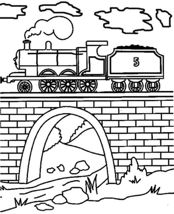Railroad, : Railroad on the Bridge Coloring Page