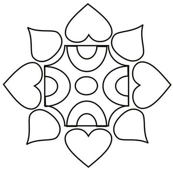 Rangoli, : Rangoli Design Coloring Page