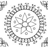 Rangoli, Rangoli Design For Wedding Ceremonies Coloring Page: Rangoli Design for Wedding Ceremonies Coloring Page