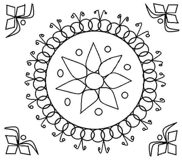 Rangoli, : Rangoli Design for Wedding Ceremonies Coloring Page