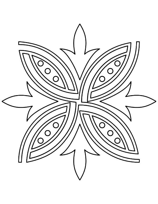 Rangoli, : Rangoli Pattern Coloring Page