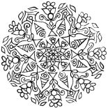 Rangoli, Rangoli With Mandala Design Coloring Page: Rangoli with Mandala Design Coloring Page