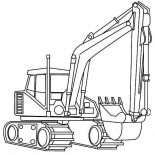 Digger, Realistic Picture Of Excavator In Digger Coloring Page: Realistic Picture of Excavator in Digger Coloring Page