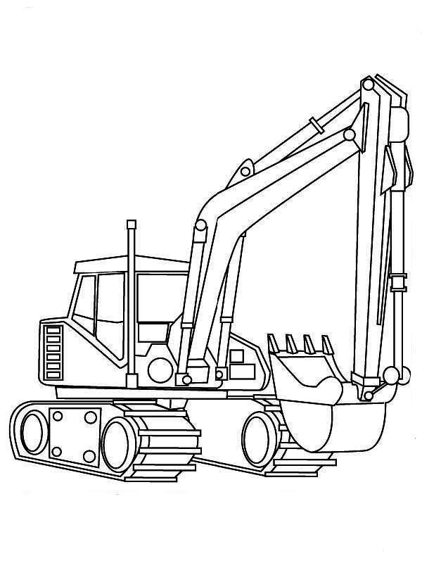 Digger, : Realistic Picture of Excavator in Digger Coloring Page