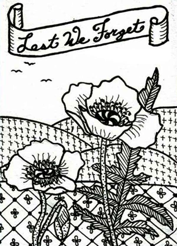Poppy, : Remembrance Day with Bouquet of Poppy Coloring Page