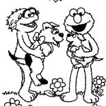 Sesame Street, Rosita And Elmo Playing With Puppy In Sesame Street Coloring Page: Rosita and Elmo Playing with Puppy in Sesame Street Coloring Page