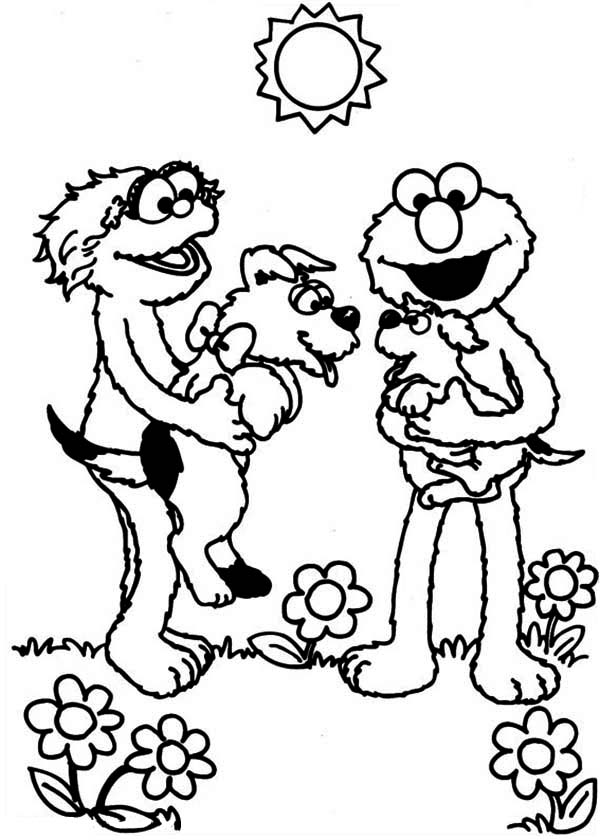 Sesame Street, : Rosita and Elmo Playing with Puppy in Sesame Street Coloring Page