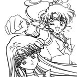 Sailor Moon, Sailor Jupiter And Sailor Mars In Sailor Moon Coloring Page: Sailor Jupiter and Sailor Mars in Sailor Moon Coloring Page