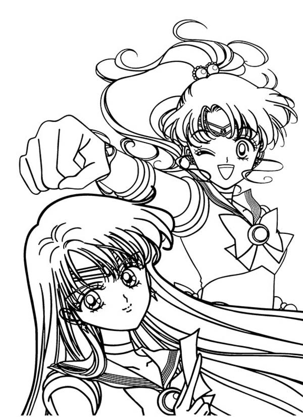 Sailor Jupiter and Sailor Mars in Sailor Moon Coloring Page | Color Luna