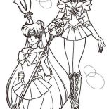 Sailor Neptune And Sailor Mercury In Sailor Moon Coloring Page Color Luna