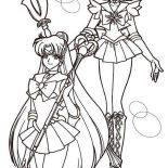 Sailor Moon, Sailor Mercury And Sailor Mars In Sailor Moon Coloring Page: Sailor Mercury and Sailor Mars in Sailor Moon Coloring Page