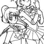 Sailor Moon, Sailor Moon Mars And Sailor Jupiter In Sailor Moon Coloring Page: Sailor Moon Mars and Sailor Jupiter in Sailor Moon Coloring Page