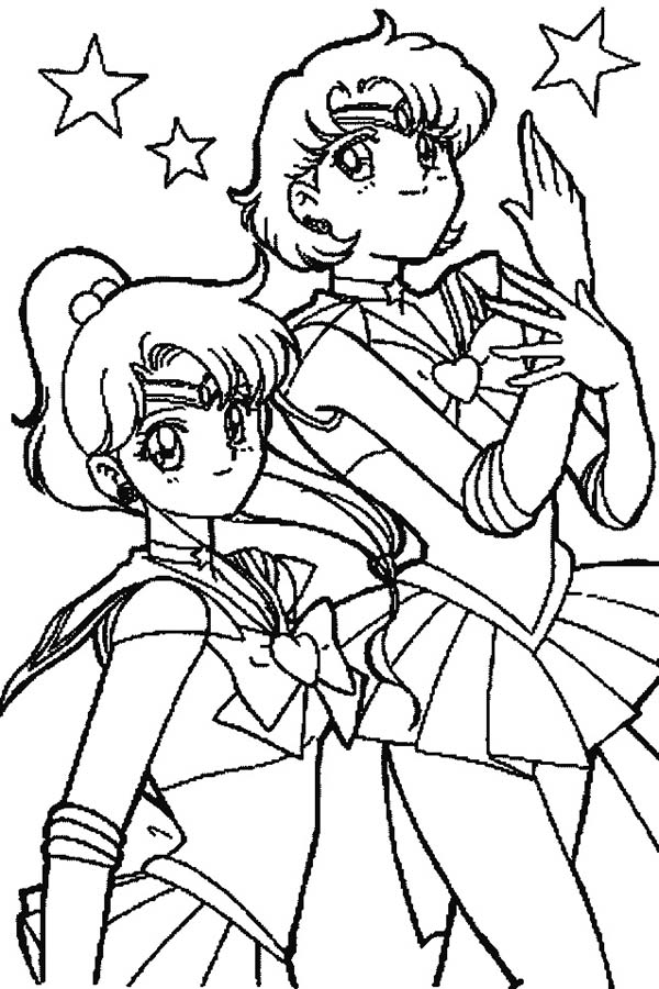 Sailor Moon, : Sailor Moon Mars and Sailor Jupiter in Sailor Moon Coloring Page