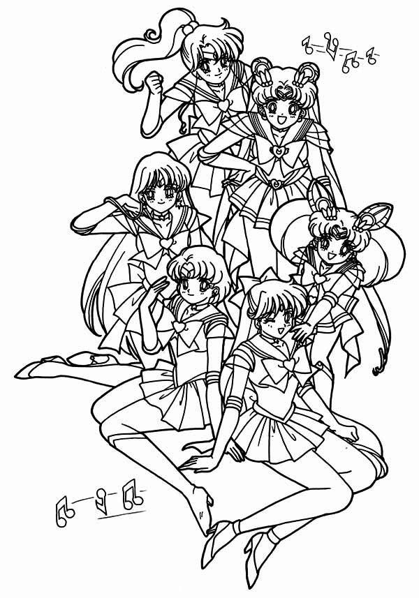 Sailor Moon Poster Coloring Page Color Luna