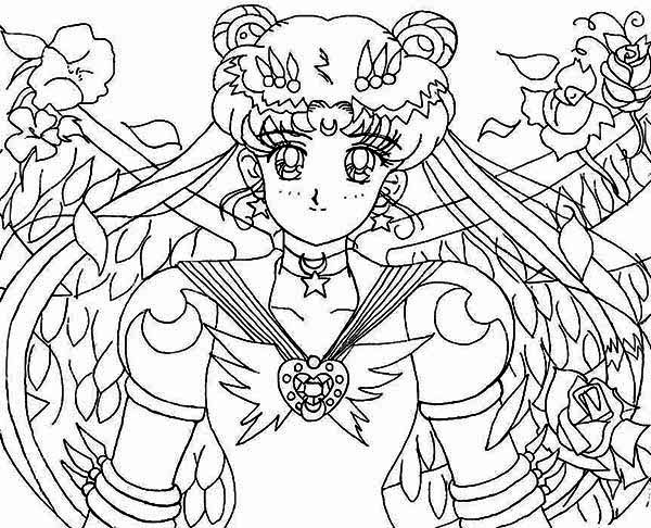 Sailor Moon, : Sailor Moon Protecting Earth from Dark Kingdom  Coloring Page