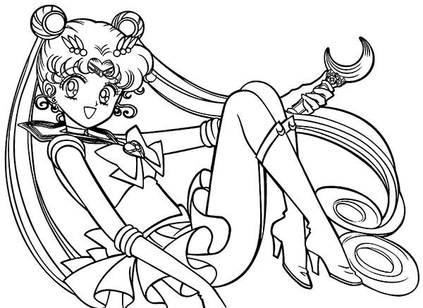 Sailor Moon, : Sailor Moon Silver Moon Christal Power Coloring Page