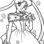 Sailor Moon, Sailor Moon Usagi Tsukino In Wedding Dress Coloring Page: Sailor Moon Usagi Tsukino in Wedding Dress Coloring Page