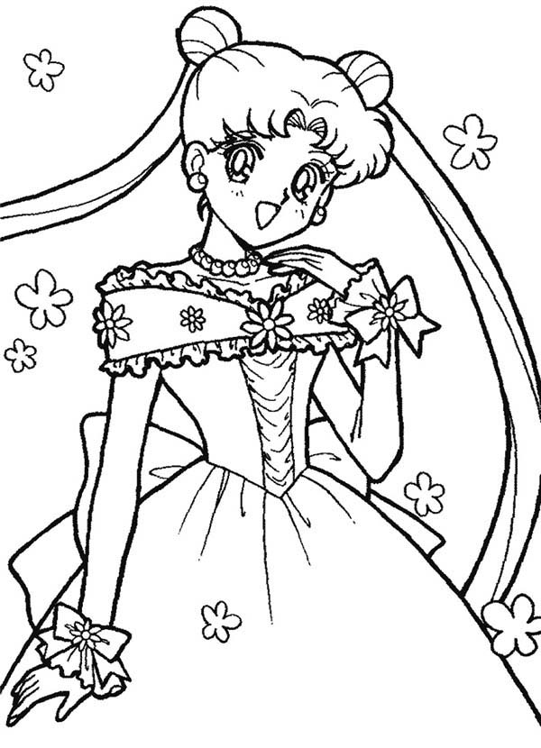 Sailor Moon, : Sailor Moon Usagi Tsukino in Wedding Dress Coloring Page