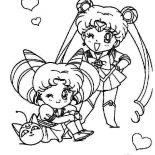 Sailor Moon, Sailor Moon And Sailor Chibi Moon Coloring Page: Sailor Moon and Sailor Chibi Moon Coloring Page