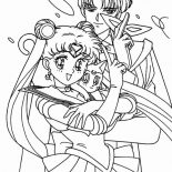 Sailor Moon, Sailor Moon And Tuxedo Mask With Luna Coloring Page: Sailor Moon and Tuxedo Mask with Luna Coloring Page