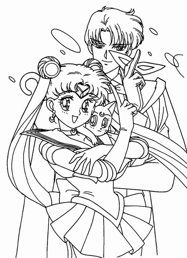 Sailor Moon and Tuxedo Mask with Luna Coloring Page ...