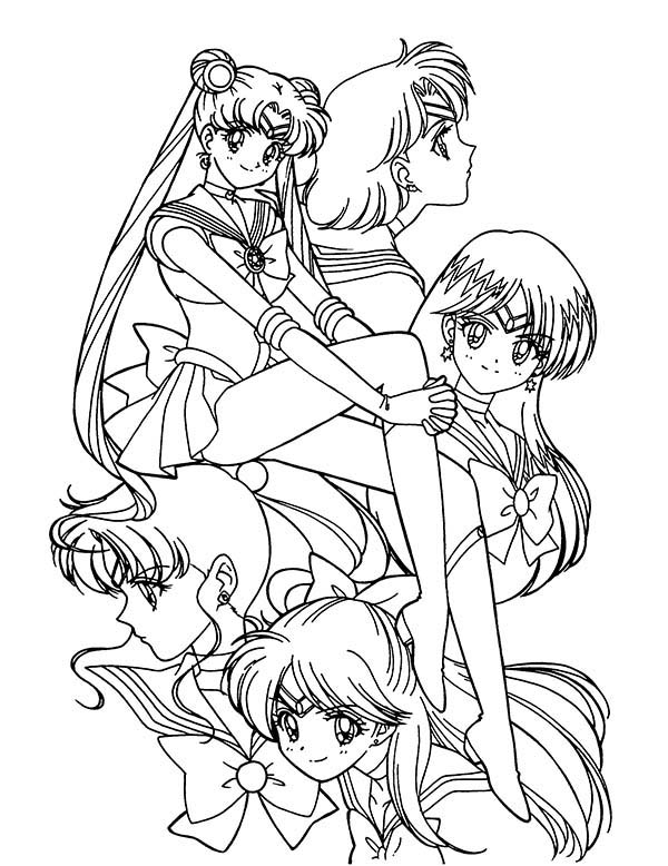 Sailor Moon, : Sailor Soldier Who Protect the Earth Sailor Moon Coloring Page