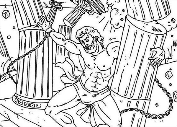 Samson, : Samsom Pulling the Pillars Apart Coloring Page