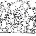 Samson, Samson Destroy Temple Of Pagan Coloring Page: Samson Destroy Temple of Pagan Coloring Page