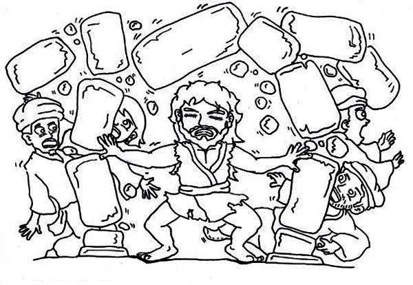 Samson, : Samson Destroy Temple of Pagan Coloring Page
