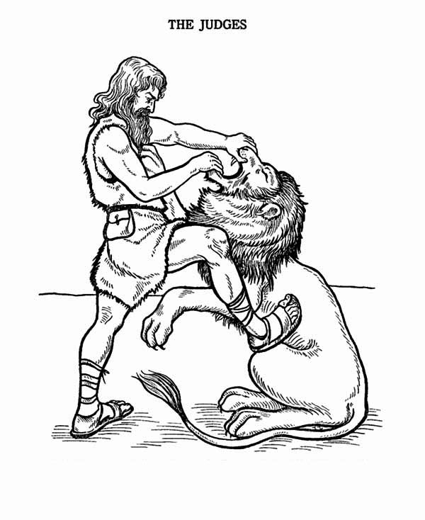 Samson, : Samson Fight with Lion Coloring Page