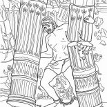 Samson, Samson Grasped Two Pillars Of The Temple Of Dagon Coloring Page: Samson Grasped Two Pillars of the Temple of Dagon Coloring Page