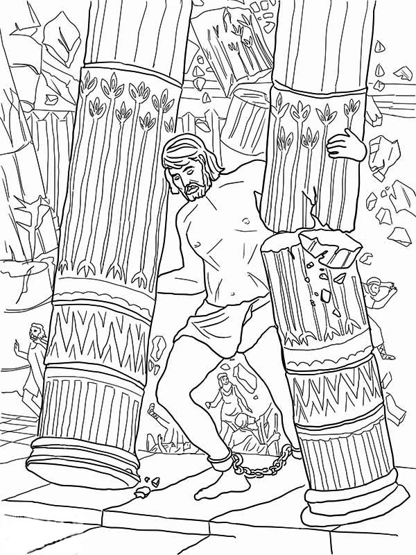Samson, : Samson Grasped Two Pillars of the Temple of Dagon Coloring Page