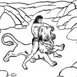 Samson, Samson Killing A Lion Coloring Page: Samson Killing a Lion Coloring Page