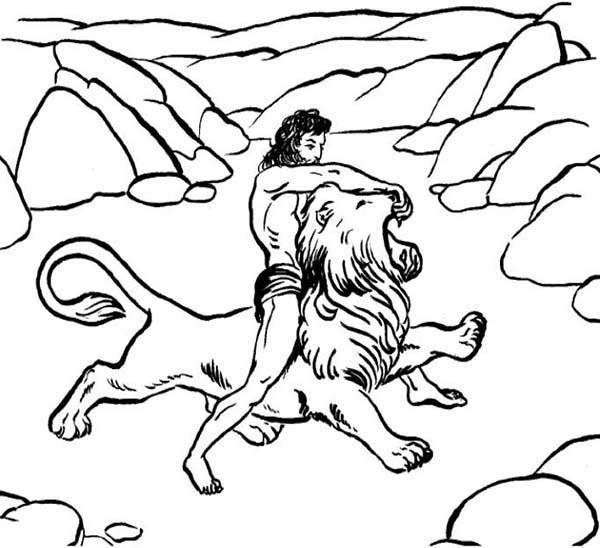Samson, : Samson Killing a Lion Coloring Page
