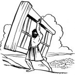 Samson, Samson Lifting Heavy Wooden Door Coloring Page: Samson Lifting Heavy Wooden Door Coloring Page