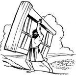 Samson, Samson Lifting Heavy Wooden Door Coloring Page: Samson Lifting Heavy Wooden Door Coloring Page