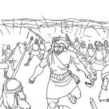 Samson, Samson Slaying Entire Army Coloring Page: Samson Slaying Entire Army Coloring Page