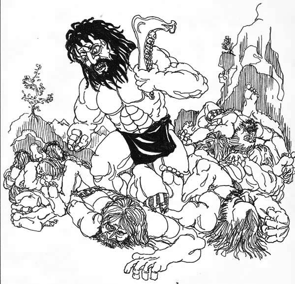 Samson Slaying Entire Army With A Jawbone Coloring Page