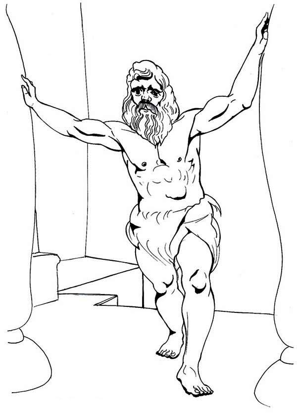 Samson, : Samson Super Power Coloring Page